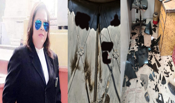 Indecent behavior with female advocate of District Court